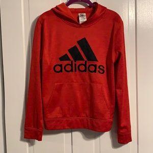 ADIDAS Red Kids Hoodie Hooded Sweatshirt Large